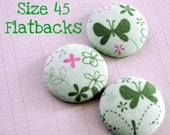 Girlie Green Fabric Covered Flat Back Buttons Size 45--Set of 3