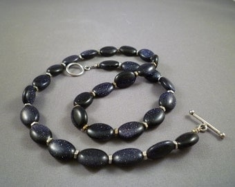 Blue Goldstone Sparkling Oval Necklace Silver FREE SHIPPING