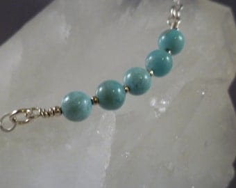 AA Blue larimar round five bead necklace 18 inches Sterling Silver