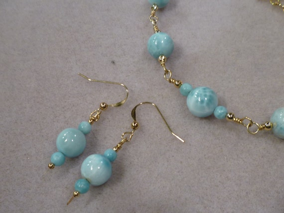 AA blue Larimar, gold filled earrings, smooth round beads, rare turtleback SALE PRICE