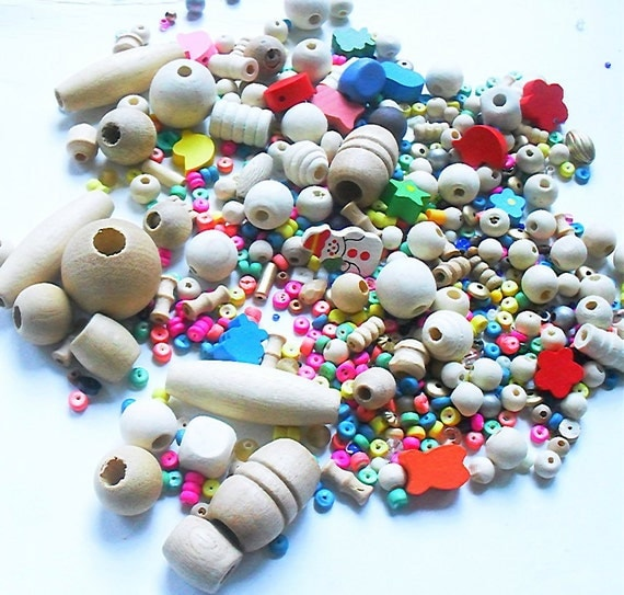 Wooden Bead Mix, Bead Soup, Pack of 250 Beads, 134 Grams