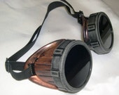 STEAMPUNK Cyber Goggles - Two Tone Metal Look - COPPER with BLACK Eye Caps