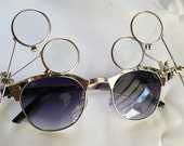 STEAM PUNK Goth GLASSES - Gold-Look Steel Metal Framed  w/Removable Jewelers Magnifying Eye Loupes