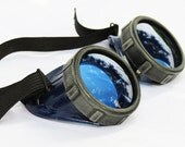 Distressed Two-Tone Black/Blue Steampunk Gothic Cyber Goggles