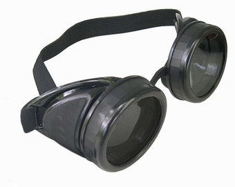 Black STEAMPUNK Gothic Cyber Goggles w/Extra Lenses
