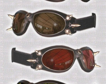STEAMPUNK GOGGLES - Goth, Clubbing, Cyber-Rave Riding Goggles with Spikes-6 lens colors to choose from - Burning Man Goggles