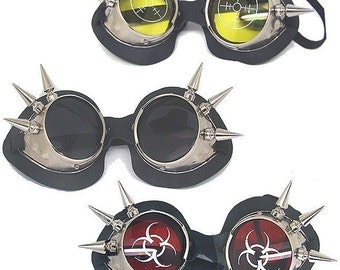 Chrome Metal Goth Steampunk Motorcycle Riding Goggles with Spikes