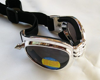 Foldable Chrome Look Cyber-Techno STEAMPUNK Goggles w/Spikes
