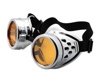 STEAMPUNK GOGGLES - Chrome Look Cyber Rave - Goth - Punk - Futuristic - Burning Man Goggles