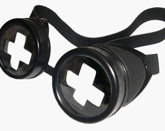 STEAMPUNK GOGGLES - Black Gothic Cyber Goggles w/Removable Swiss Cross Lenses - Burning Man Goggles