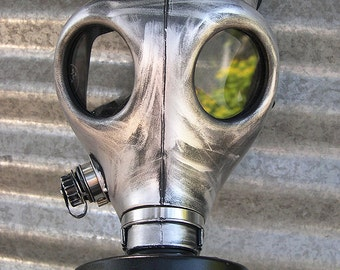 Distressed Silver - Pewter Gas Mask with Air Filter - Steampunk,  Apocalyptic, Futuristic, Survival Mask