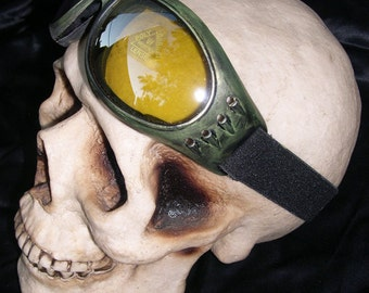 Distressed Antique-Look JADE GREEN 'STEAMPUNK' Cyber Rave Goggles