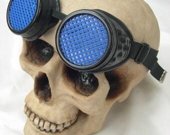STEAMPUNK GOGGLES - Black/Blue Cyber Rave Goth Punk Clubbing Welders Goggles with Mesh Eye Treatment -Burning Man Goggles