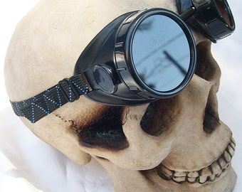 STEAMPUNK GOGGLES-Black Vintage-Look Basic Motorcycle Riders Goggles Do -It -Yourself DIY