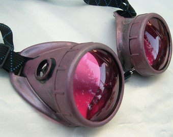 Distressed Rose Amethyst Vintage-Look STEAMPUNK Cyber Welding Goggles