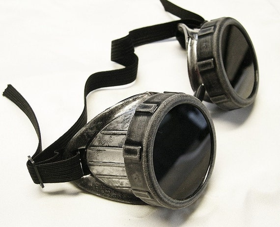 STEAMPUNK Cyber Goggles - Distressed Metal - Look SILVER Pewter with BLACK Eye Caps