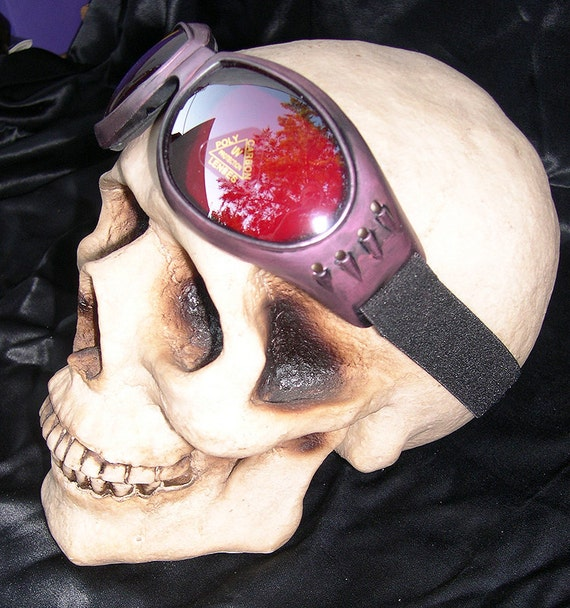 Distressed Antique-Look AMETHYST 'STEAMPUNK' Cyber Rave Goggles