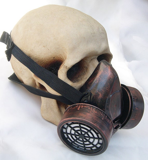 COPPER 'Rust' Distressed -Look Steampunk Chemical Nuclear Fall Out Biological Warfare Respiratory Gas Mask -A BURNING MAN Must Have