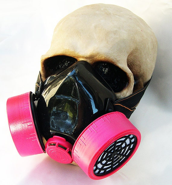 Neon Pink - Black Steampunk Chemical Nuclear Fall Out Biological Warfare Respiratory Gas Mask -A Burning Man Must Have