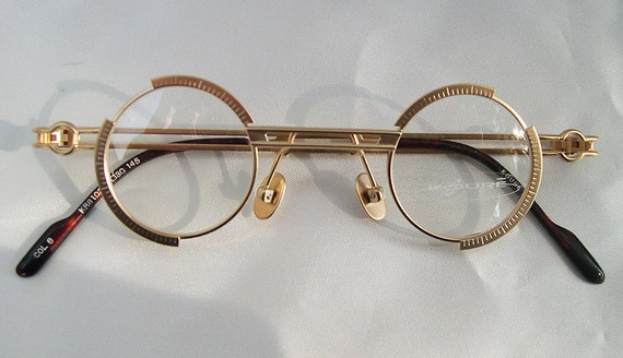 Round Glasses Gold Frames : KOURE 8103 VINTAGE Round STEAMPUNK Industrial Design Glasses