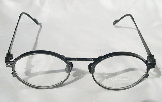 Eyeglass Frames Fairview Heights Il : KOURE 8117 Vintage STEAMPUNK Industrial Glasses Black Oval
