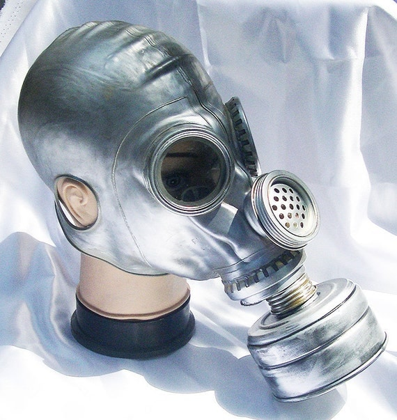 Silver/Pewter Fully Functional Apocalyptic, Futuristic Full Face RUSSIAN Survival GAS MASK with Filter - A Burning Man Must Have