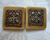 Vintage 2 Piece Plastic and Metal Filigree Buckle As Found