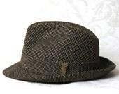 Vintage 60s Men's Brown Tweed Fedora Bucket Hat