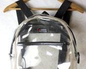 RESERVED for Cassie (kb88) VINTAGE 90s Preppy Plastic ESPRIT Transparent Backpack Bag