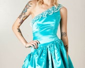 Vintage 80s Aqua Satin Lace Crinoline Bombshell Formal Prom MINI DRESS