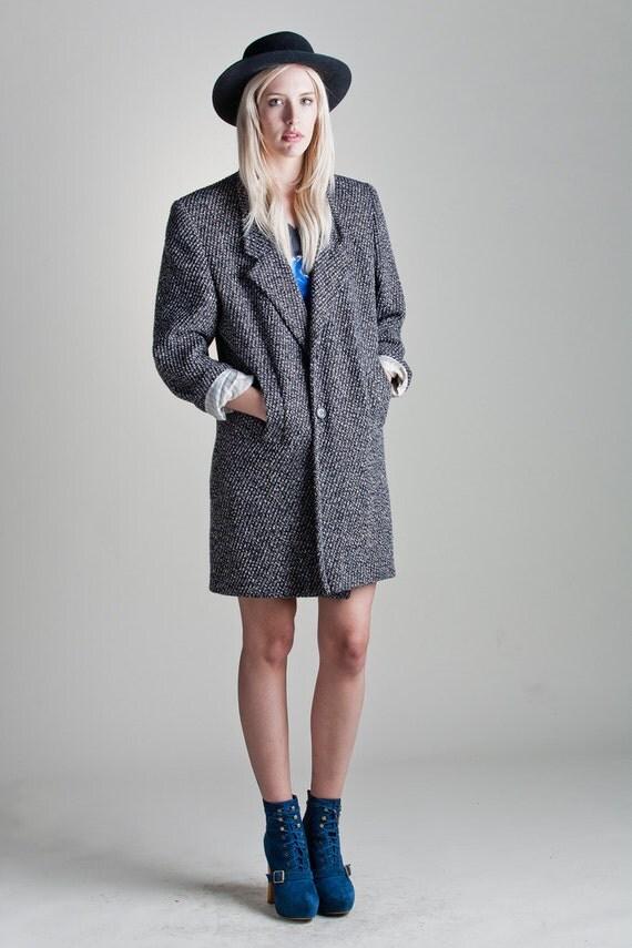 Vintage 80s Oversized Tweed Boucle BLAZER Mini Dress Jacket