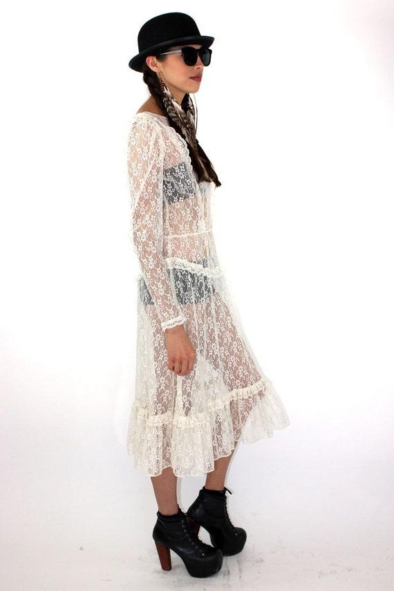 80s SHEER LACE Victorian STEAMPUNK Wedding Dress
