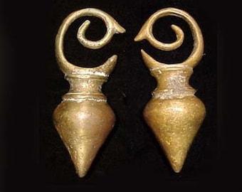 Ear Lobe Weights, Dayak, Large Heavy Brass