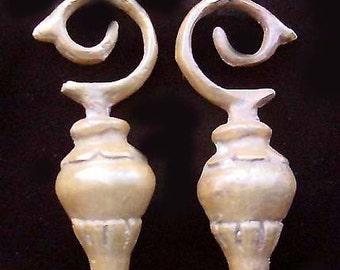 Brass Ear Weights, Pair, Borneo, Long Drops