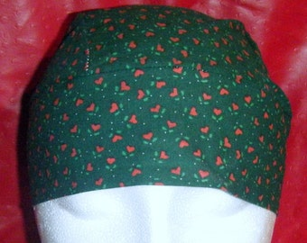 Green Skull Cap or Chemo Cap w Red Hearts, Do Rag, Hat, Holiday, Christmas, Hair Loss, Bald, Head Wrap, Head Cover, Surgical Cap, Alopecia