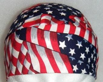 USA Flag, Chemo Cap, Skull Cap, Do Rag, Head Wrap, Hat, Bandana, Biker, Hair Loss, motorcycle, 4th of July, military, hair loss,Alopecia