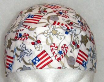 White Skull Cap or Chemo Cap w Flags, Candy Canes, Stars w Gold Trim, Do Rag, Hat, Biker, Helmet liner, Handmade Hair Loss, Bald, Alopecia