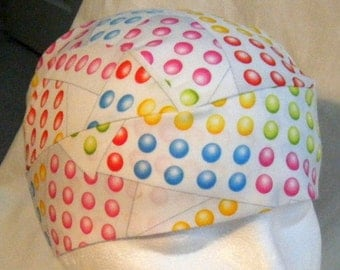 White Skull Cap w Candy Colored Dots, Hat, Do Rag, Biker, Head Wrap, Chemo Cap, Hair Loss, Bald, Surgical Cap, Helmet Liner, handmade, Caps