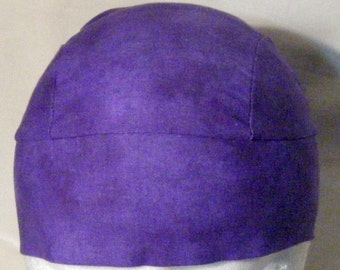 Purple Skull Cap, Do Rag, Hat, Biker, Head Wrap, Chemo Cap, Helmet Liner, hair loss, bandanna, Handmade, Alopecia, Motorcycle, Surgical Cap