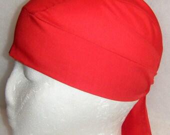 Red Skull Cap, Chemo Cap, Biker, Hats, Alopecia, Helmet Liner, Head Wrap, DoRag, Surgical Cap, Hair Loss, Handmade, Valentine's,Helmet liner