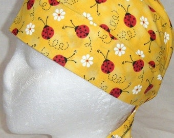 Handmade Yellow Skull or Chemo Cap w Lady Bugs, Hat, Biker, Head Wrap, Do Rag, Bald, Hair Loss, Alopecia, Surgical Cap, Helmet Liner, Garden