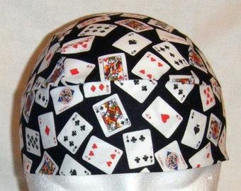 Cards Skull or Chemo Cap, Hats, Do Rags, Head Wrap, Biker, Gambler, Motorcycle, Hair Loss, Helmet Liner, Head Wrap, Doctor, Surgical Cap