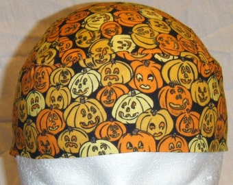 Handmade Pumpkins Skull Cap, Hat, Chemo Cap, Motorcycle, Halloween, Orange, Black, Hair loss, Surgical Cap, Handmade, Alopecia, Helmet Liner