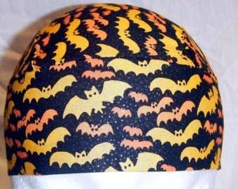 Black Skull Cap w Orange Bats, Hat, Chemo Cap, Halloween, Biker, Head Wrap, Hair Loss, Bald, Surgical Cap, Motorcycle, Handmade, Alopecia