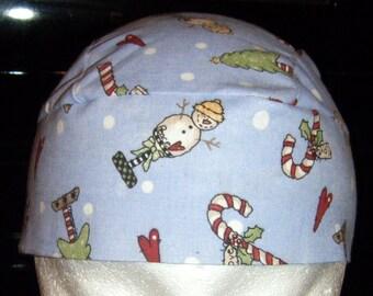Light Blue Skull Cap, Chemo Cap w Snowmen, Candy Canes, Trees, Hats, Biker, Head Wrap, Do Rag, Winter, Hair Loss, Bald, Surgical Cap