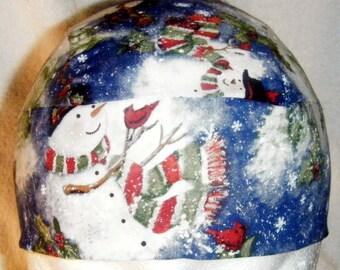 Blue Skull Cap w Snowmen, Chemo Cap , Hats, Head Wrap, Helmet Liner, Winter, Do Rag, Hair Loss, Motorcycle, Bald, Surgical Cap, Alopecia