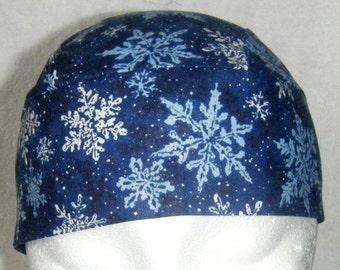 Blue Skull Cap w Snowflakes, Chemo Cap, Hats, Biker, Head Wrap, Men, Women, helmet liner, caps, Do Rag, Hair Loss, Hand Made, Motorcycle