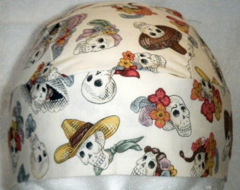 Off White Skull Cap w Day of the Dead Skulls, Hat, Chemo, Do Rag, Men, Women, Head Wrap, Biker, Hair loss, Motorcycle, Doctor, Surgical Cap