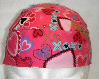 Dark Pink Skull Cap w Hearts, Chemo Cap, Hat, Head Wrap, Valentines, Motorcycle, Athletes, Hair Loss, Surgical Cap, Alopecia, Handmade