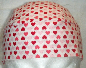 White Skull Cap w Pink and Red Small Hearts w Glitter, Chemo Cap, Hat, Biker, Head Wrap, Do Rag, Motorcycle, Valentines, Scrub Cap, Handmade